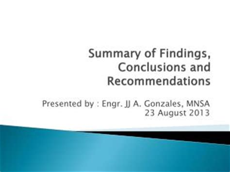Summary conclusion and recommendation sample in thesis